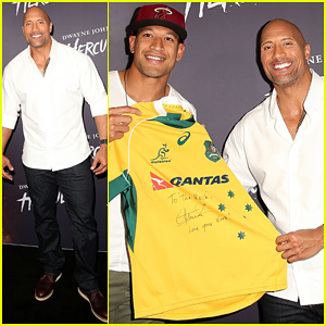 Dwyane Johnson Presented with Wallabies Jersey at Australian 'Hercules' Screening!