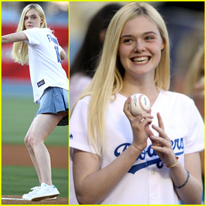 Elle Fanning Has Skills! Throws Out First Pitch at Dodgers Game!
