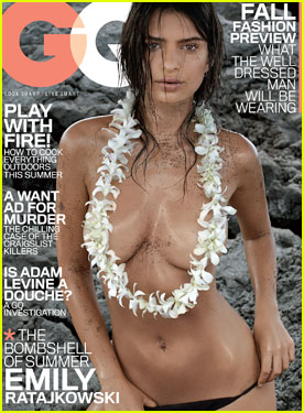 Emily Ratajkowski Is Sexy & Topless For 'GQ' July 2014 Cover!