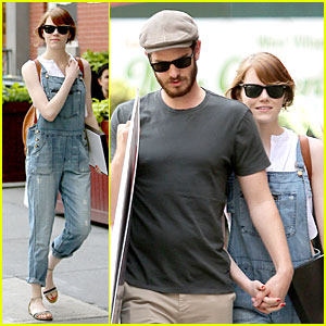 Emma Stone Looks So Trendy In Overalls with Andrew Garfield By Her Side!
