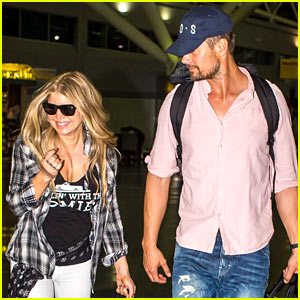 Fergie Gets the Major Giggles at Airport with Josh Duhamel