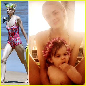 Jaime King Wears a One-Piece Swimsuit While Snorkeling