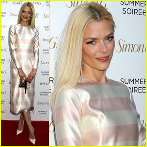 Jaime King Goes for Stripes at Simon G Jewelry Summer Soiree!