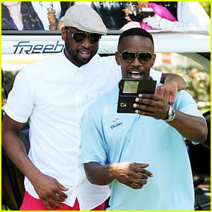 Jamie Foxx & Dwyane Wade Catch Up at Miami Celebrity Golf Tournament
