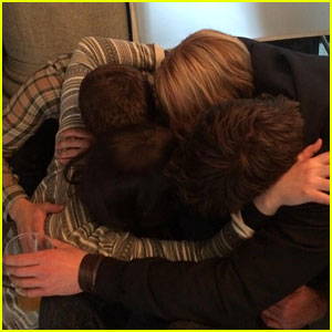 Jennifer Lawrence, Liam Hemsworth & Josh Hutcherson Finish Filming 'Mockingjay' with a Hug!