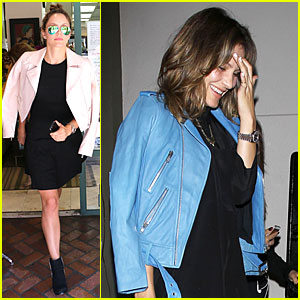 Katharine McPhee Likes to Pair Black With Cool Colored Jackets!