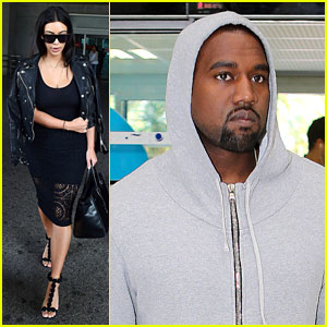 Kim Kardashian Lands in Cannes While Kanye West Flies Out
