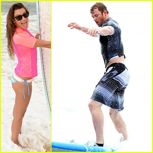 Lea Michele & Kellan Lutz Learn to Surf Like the Pros!