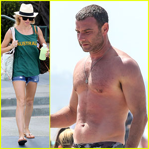 Liev Schreiber Goes Shirtless at the Beach on Father's Day!