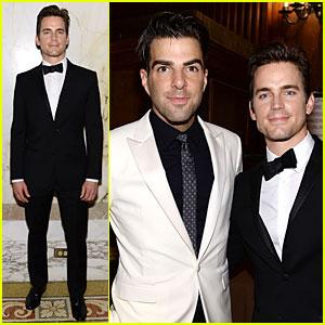 Matt Bomer & Zachary Quinto Meet Up at amfAR Inspiration Gala 2014