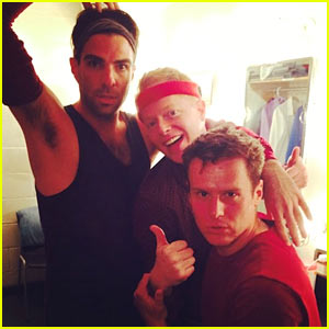 Zachary Quinto & Jonathan Groff Get in the 'Chorus Line' Spirit Together (Photos)