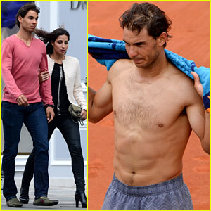 Rafael Nadal Goes Shirtless at French Open, Strolls with Girlfriend Xisca Perello