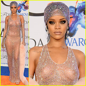 Rihanna Stuns in Completely Sheer Dress at CFDA Awards 2014