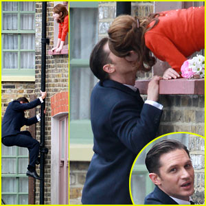 Tom Hardy Shimmies Up a Drainpipe to Kiss Emily Browning - See the Pics!