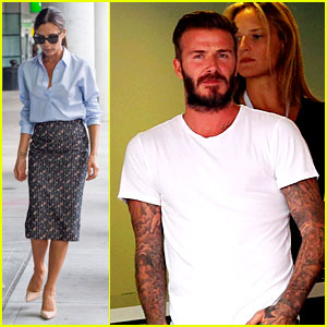 Victoria Beckham Goes Business Chic for a Flight, David Checks Out a Soccer Game