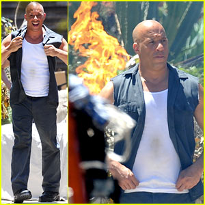 Vin Diesel Does Some Fiery Stunt Work for 'Fast & Furious 7' - See the Action Pics!