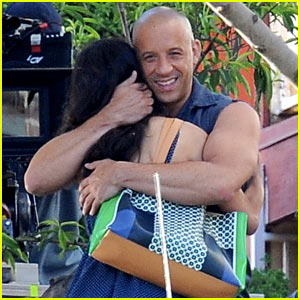 Vin Diesel Gives Jordana Brewster a Huge Hug for 'Fast & Furious 7'!