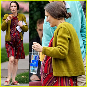 Winona Ryder Wears Fake Baby Bump on 'Experimenter' Set