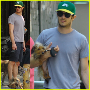 Adam Brody Holds Leighton Meester's Dog Trudy in NYC