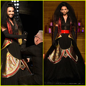 Bearded Drag Queen Conchita Wurst Walks the Runway at Jean Paul Gaultier Runway in Haute Couture