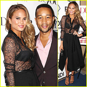 Chrissy Teigen Flaunts Black Bra at DuJour Cover Party