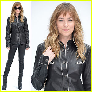 Dakota Johnson Dresses for Christian Grey in Sexy Leather Outfit at Chanel Fashion Show