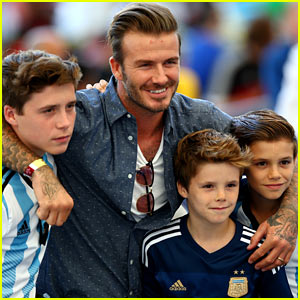 David Beckham Poses For Adorable Picture with All His Sons at the World Cup Final 2014!