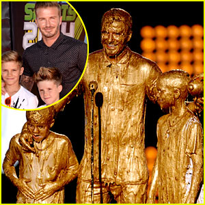 David Beckham & His Sons Get Drenched with Golden Slime at Kids' Choice Sports Awards! (Video)