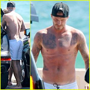 Shirtless David Beckham Flaunts Rock Hard Abs at the Beach