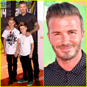 David Beckham Takes His Boys to Nickelodeon Kids' Choice Sports Awards 2014!