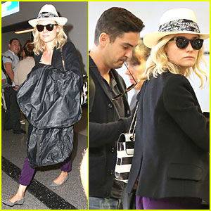 Diane Kruger Knows How to Rock Purple Pants at LAX Airport!