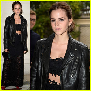 Emma Watson Looks Amazing in Lace Crop Outfit at Valentino Show