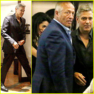 George Clooney & Fiancee Amal Alamuddin Make It a Family Night in Italy!