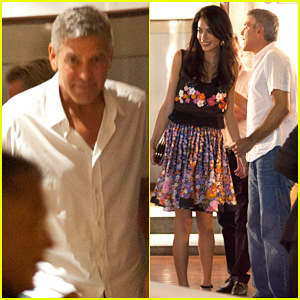 George Clooney & Fiancee Amal Alamuddin Step Out for Romantic Dinner at Harry's Bar!