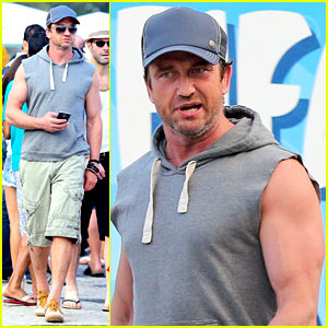 Gerard Butler Strolls Along the Beach in a Sleeveless Top
