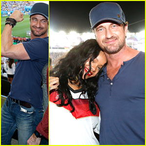 Gerard Butler Flexes His Huge Bicep, Hangs with Rihanna at World Cup Final 2014!