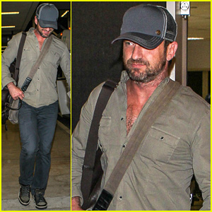 Gerard Butler Shows Off Chest Hair Touching Down at LAX!