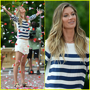 Gisele Bundchen is Showered with Rose Petals From the Sky!