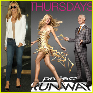 Heidi Klum is Practically Naked Under a Shield of Hangers for 'Project Runway' Poster