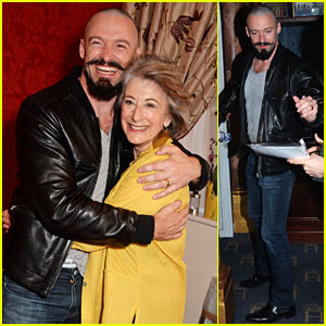 Hugh Jackman Gives Great Big Hug to Former Co-Star Maureen Lipman at 'Daytona' Performance!