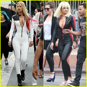 Rita Ora & Iggy Azalea Wear Skin Tight Sexy Jumpsuits for 'Black Widow' Video