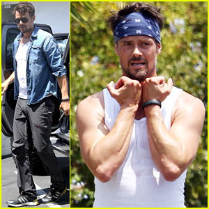 Josh Duhamel Flexes His Muscles During Vigorous Outdoor Workout