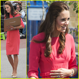 Kate Middleton is Bright in Pink for Blessed Sacrament School Visit!