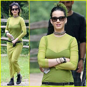 Katy Perry Goes Green & Sheer For Black Creek Pioneer Village Visit