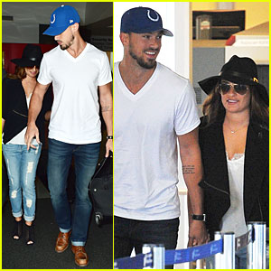 Lea Michele & Boyfriend Matthew Paetz Roll Up Their Jeans For LAX Landing