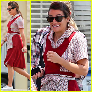 Lea Michele Gets Into Her Waitress Uniform for 'Sons of Anarchy'