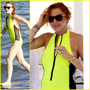 Lindsay Lohan Wears a Swimsuit with a Totally Sheer Side