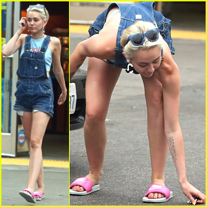 Miley Cyrus Finds Her Earring on the Ground at a Gas Station