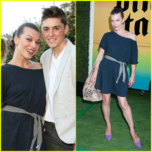 Milla Jovovich Reunites with Spencer List at Just Jared's Summer Fiesta Held at Pink Taco