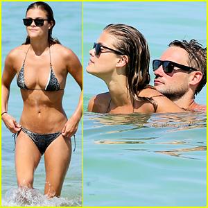Nina Agdal Rocks Barely-There Tiny Bikini with Beau Reid Heidenry